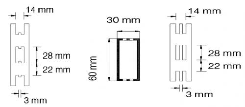 Lochbilder H-Lochung und Doppelschlitzlochung Tegometall System