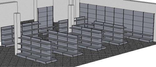 Tegometall Gestaltung Verkaufsraum mit Systemregalen aus Stahlblech
