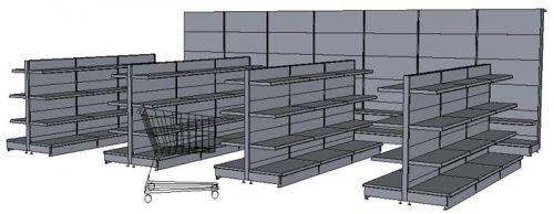 Tegometall Gondeln und Wandregale für Ladenbau mit Baukastensystem