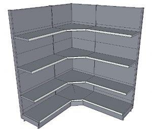 Tegometall Wandregale mit integrierter Innenecke und 3 Fachböden