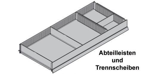 Abteilleisten und Trennscheiben zur Unterteilung von Tegometall Fachböden